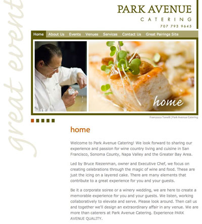 Park Avenue Catering Home Page Image